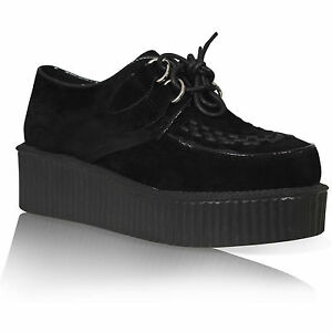2a67ea485347 WOMENS LADIES FLAT PLATFORM WEDGE LACE UP GOTH PUNK CREEPERS SHOES ...