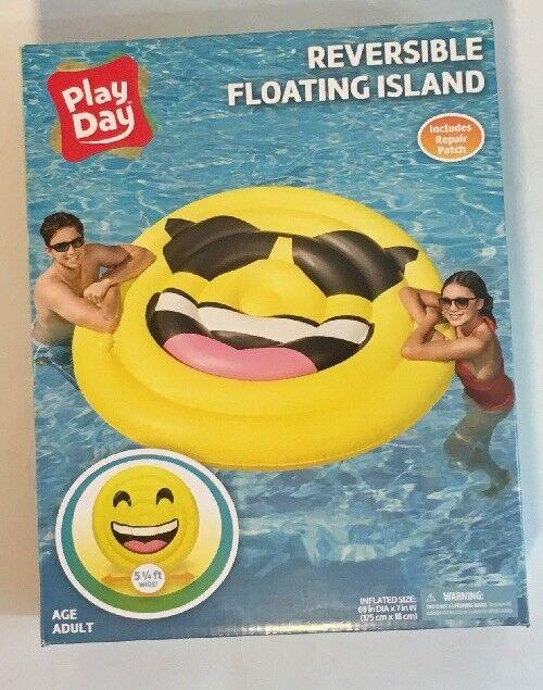 Día De Juego Inflable Reversible emoji isla Flotador Nuevo