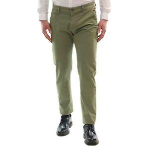 Pantalone-Uomo-Verde-Slim-fit-Estivo-Elegante-Cotone-Chino-Casual-Cinque-Tasche