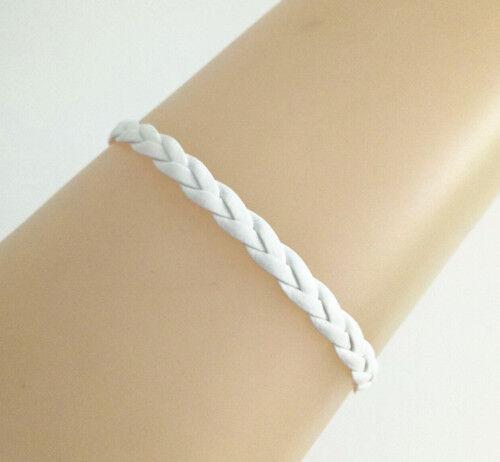New White PU Leather Cords Braided Leather Bracelet Handmade Bangle