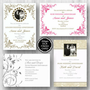 Details About 10 Personalised Wedding Anniversary Party Invitations Invites