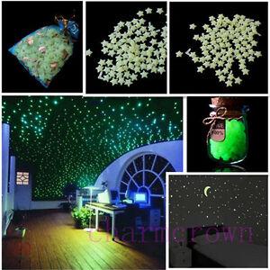 200Pcs-3D-Stars-Moon-Sticker-Glow-In-The-Dark-Bedroom-Wall-Decal-Shiny-Decor-Hot