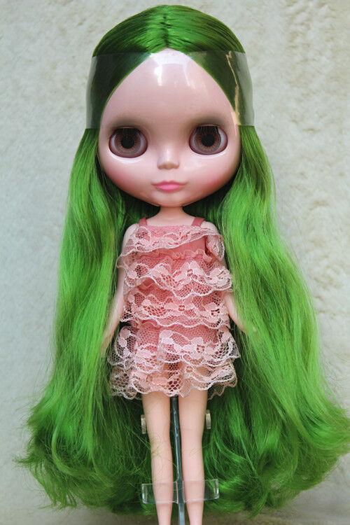 12  Neo Desnuda Muñeca Blythe Doll de fábrica de la piel rosadodo pelo rizado verde N473