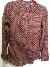 EDDIE BAUER 100% Cotton Long Sleeve Pattern Button Up Blouse Top Shirt Womens' S
