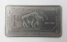 999 Titan Titanium lingotes 1 Oz titanbarren muy raramente American Buffalo nuevo Top