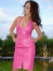 c93dd77f470f Das Bild wird geladen Lederkleid-Leder-Kleid-Pink-Neckholder-Knielang- Massanfertigung