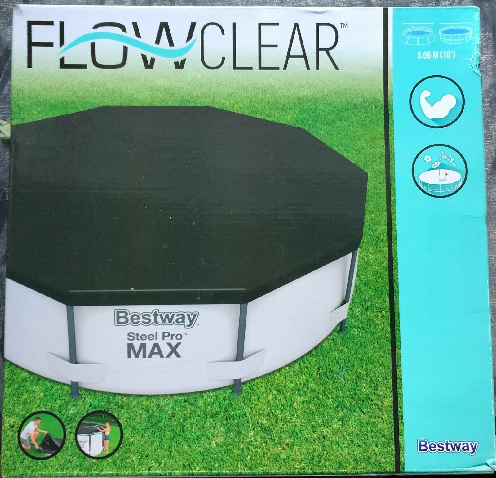 Bestway Steel Pro FLOW CLEAR 10ft pool cover NEW and UNUSED IN SEALED BOX