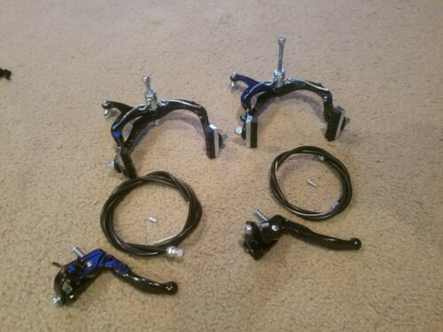 """2 NEW BLACK ALLOY HAND BRAKES FOR 20/""""BMX BICYCLES,FRONT/& REAR,MX,COMES COMPLETE"""
