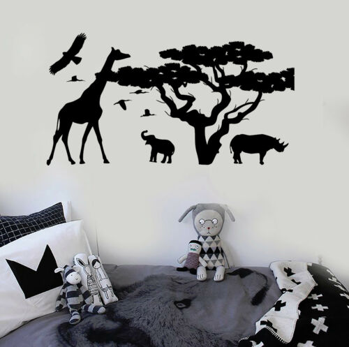 Vinyl Wall Decal African Animals Tree Nature Kids Room Stickers ig3911