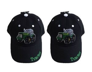 Boys Black Embroidered Tractor Baseball Cap Hat, Child- Children Hat, Farm