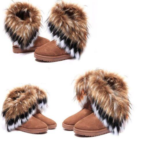 Women Winter Tassel Ankle Boots Warm Long Rabbit Faux Fur Snow Shoes US Size