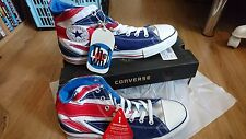 CONVERSE ALL STAR CHUCKS  THE WHO ENGLAND FLAG PUNK UNION JACK Hi Tops - UK 11
