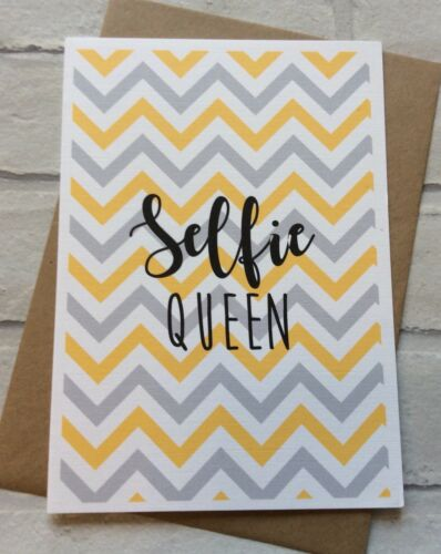 "Funny Alternative Humour Personalised Handmade /""Selfie Queen/"" Birthday Card"