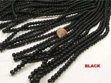 10 STRANDS 6MM ROUND BLACK GLASS BEADS LOT WHOLESALE (NS85)