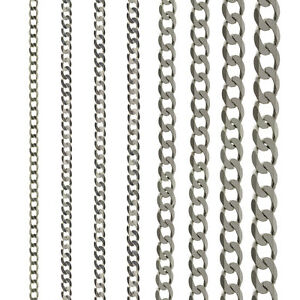 STERLING-SILVER-CURB-CHAIN-16-18-20-22-24-ROPE-POW-BELCHER-TRACE-D-C-SOLID-LINK