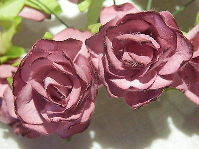 20 RED WINE Mulberry Paper ROSES 33mm WEDDING Craft PARTY Doll DECORATIONS