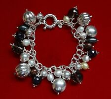 "CA ITALY STERLING 925 7"" BEADED BRACELET W/ PEARLS & FACETED STONES - 48 GRAMS"