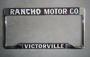 Rancho Motors Victorville >> Details About Rancho Motor Co Victorville License Plate Frame Chrome Metal Embossed Tag Old