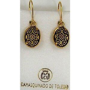 Damascene-Gold-Star-of-David-Oval-Drop-Earrings-by-Midas-of-Toledo-Spain-2123