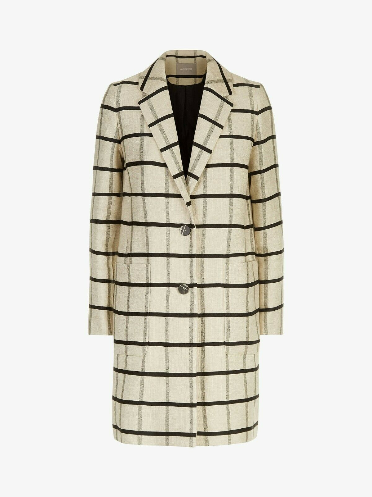 Jaeger Checked Linen Blend Coat - Ivory - U.K. 10 - Brand New With Tags