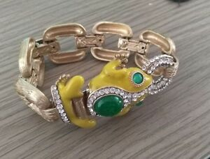 Yellow-Enameled-Frog-Bracelet-Metal-Square-Link-Epoxy-Crystal-Glass-Paved-75g-W
