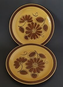 La-Mesa-Stoneware-Dinner-Plates-Set-of-Two-2-Made-In-Japan-Brown-Floral-10-1-2