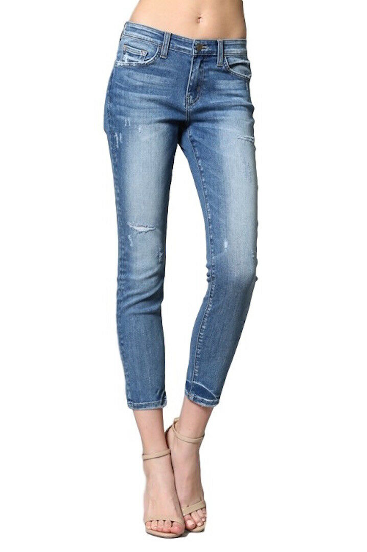 Flying Monkey bluee Leaf Mid Rise Distressed Crop Ankle Skinny Jeans Y2440