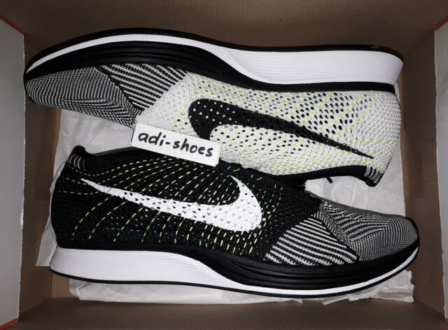 b92534aee4240 Nike Flyknit Racer Black White Volt Ying Yang Mens Running Shoes ...