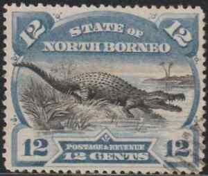 NORTH BORNEO 1894 PICTORIAL 12c CROCODILE CTO. CAT RM 400 AS POSTALLY USED