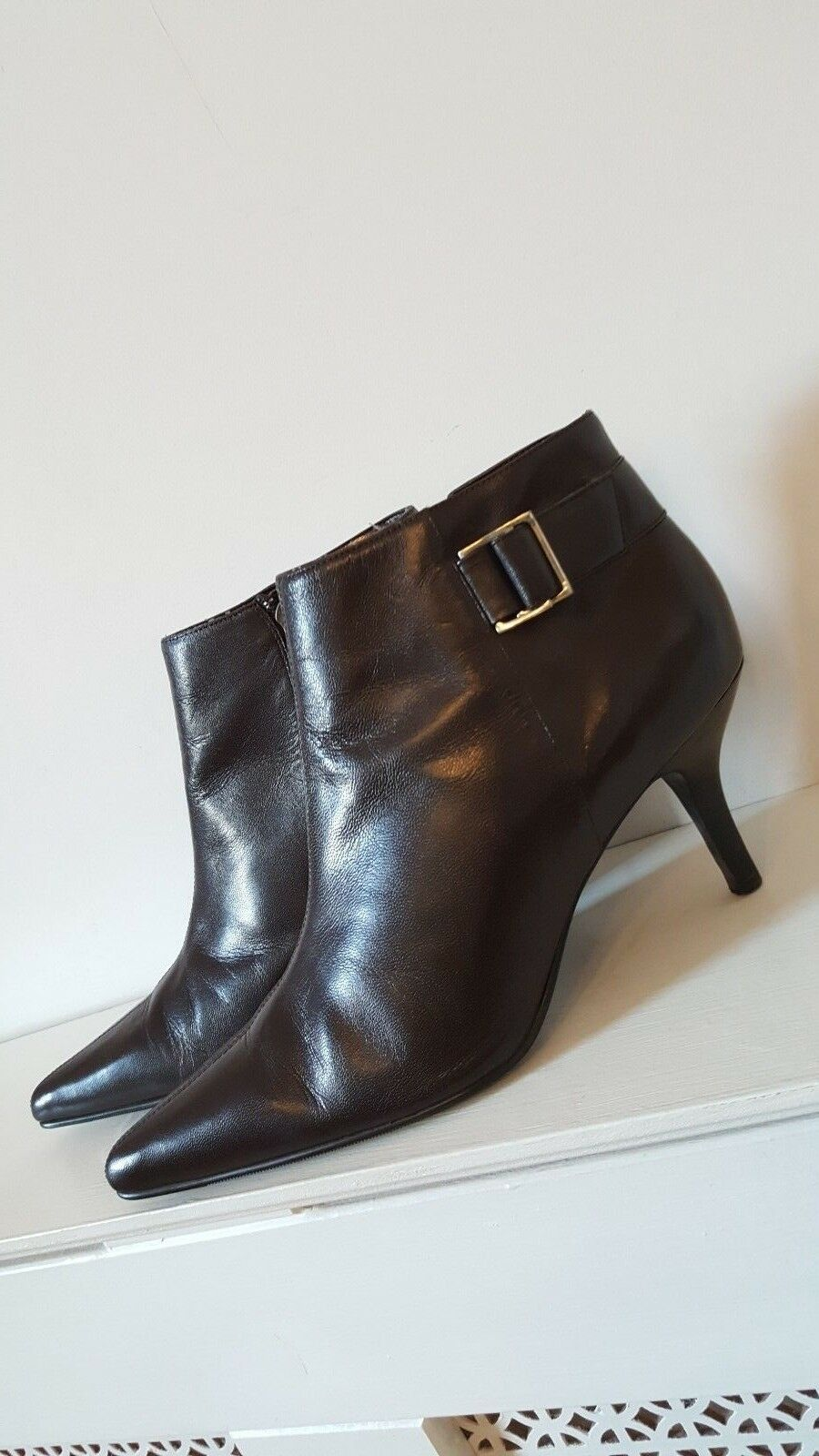 M&S Dark Brown Leather Goth Vamp Pointy Toe Ankle Boots Size 41.5 UK 7