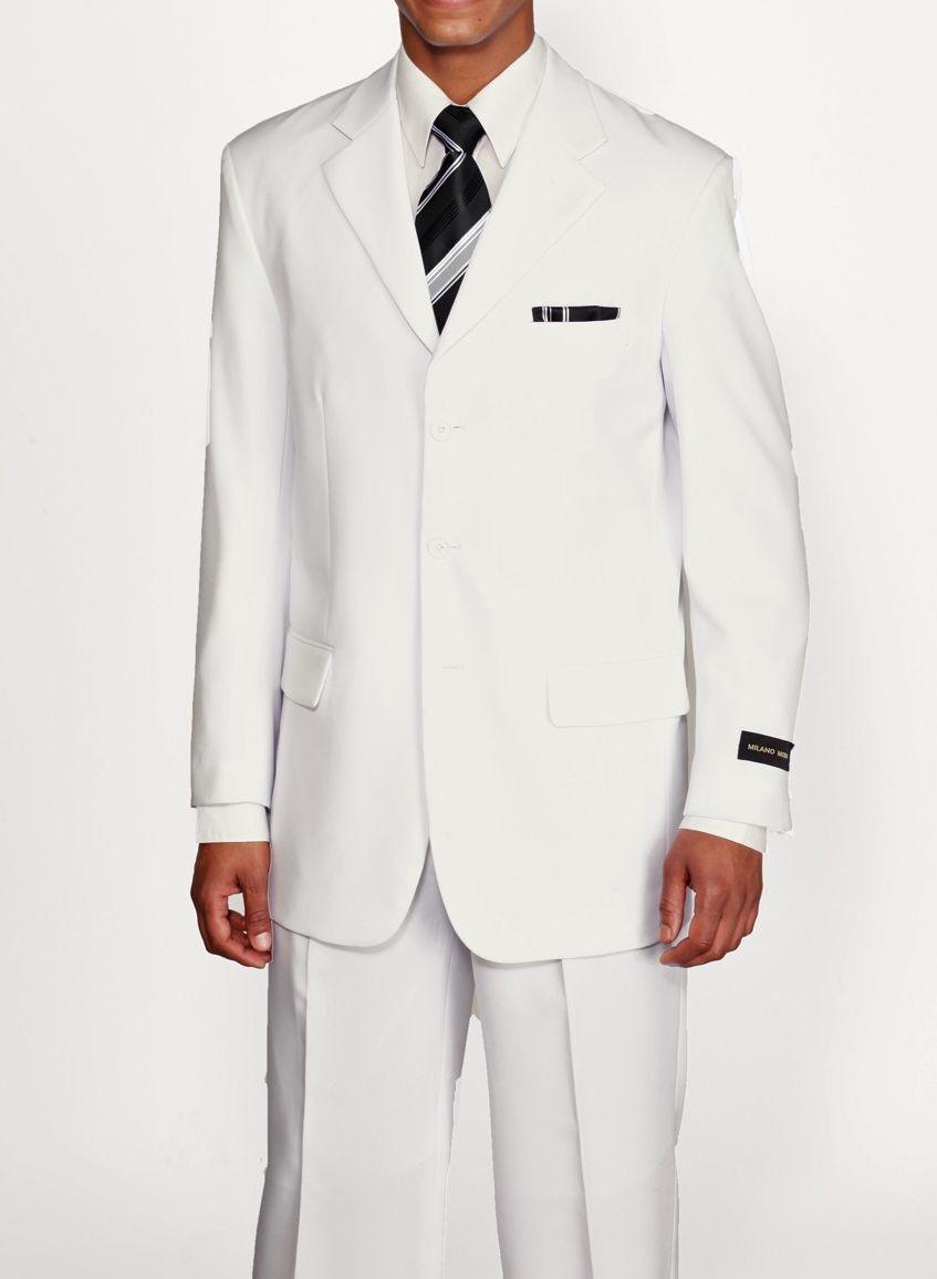 Herren Basic Weiß Farbe 3 Knöpfe von Milaono Moda   Fortino Landi Weiß  802p