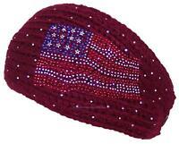 D&y Womens Tight Rib Knit Headband W/jeweled American Flag Design 485 Maroon