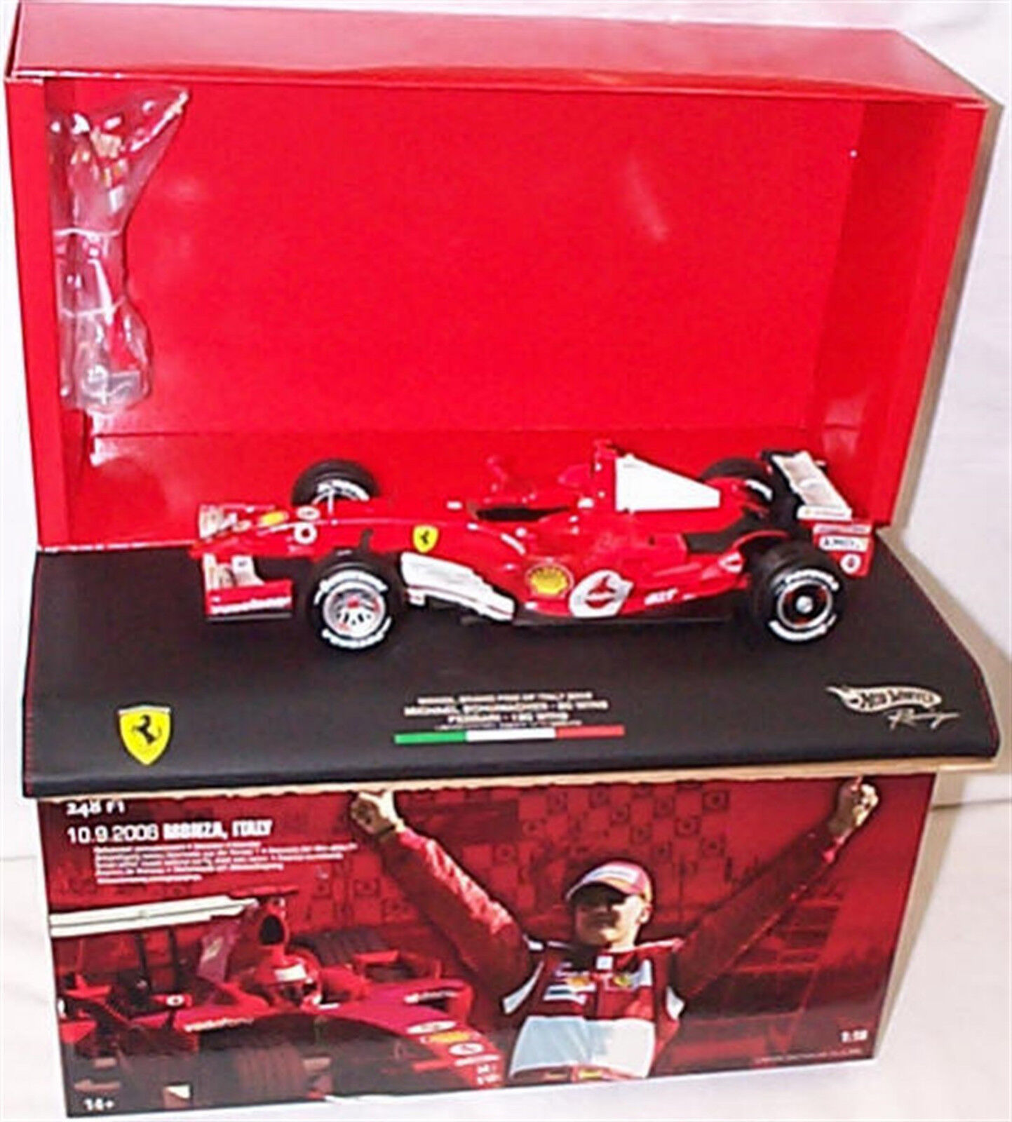 HOT WHEELS J2994 FERRARI M. Schumacher Monza 06 1 18 DIE CAST MODEL non aperto