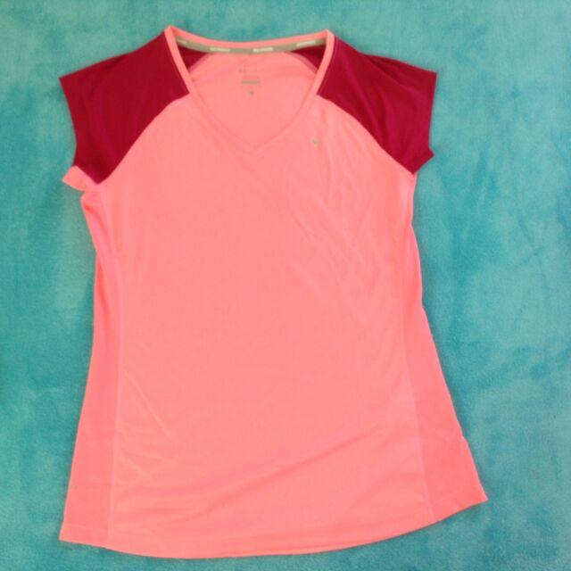 NIKE WOMEN/'S DRI-FIT MILER RUNNING CREW-NECK TOP SHIRT PINK #717419-NWT