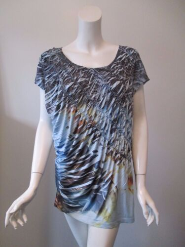 One World Blue Abstract Prints Smocks Pleats Stret