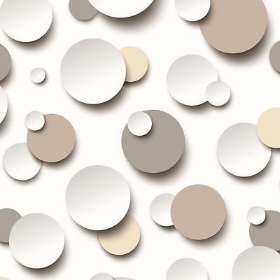 NEW MURIVA CIRCLES POLKA DOT SPOT WHITE TEXTURED DESIGNER WASHABLE WALLPAPER