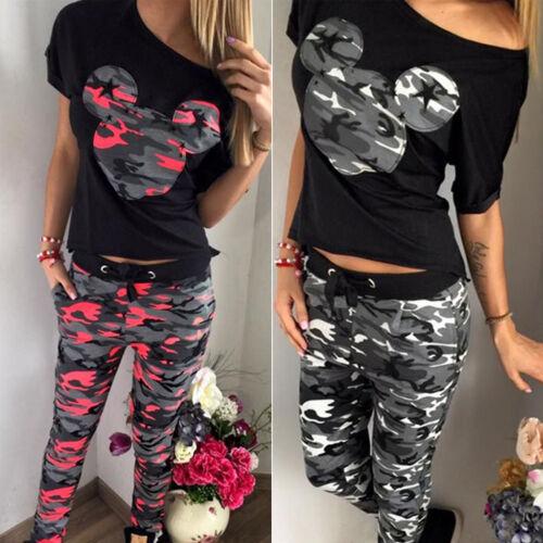 Damen Camo Trainingsanzug Mickey Mouse T-Shirt Hose Jogginganzug Sports Gym Set
