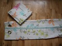 Next Bright Painterly Floral Curtains Eyelet Lined 53x54 100% Cotton