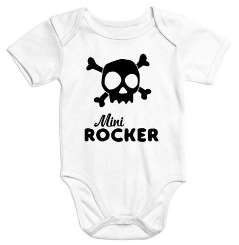 kurzarm Baby-Body mit Aufdruck Mini Rocker Totenkopf Bio-Baumwolle Moonworks®