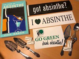 Absinthe Set, Sugar Cubes, 4 Spoons, Stickers, Absinthe History Book Phil Baker