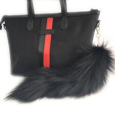 "16"" Black Large Real Fox Fur Tail Keychain Leather Tassel bag charm Keyring"