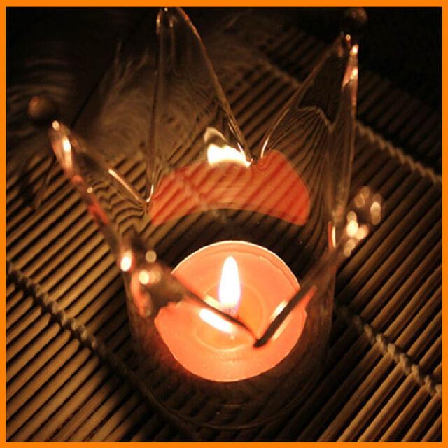 Glass Crown Vase Candle Holder Home Wedding Decor Romantic Dinner Candlestick