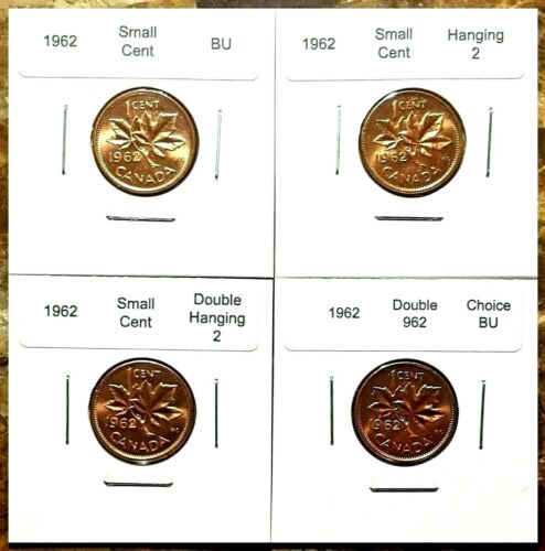 Double 962 /& Double Hanging!! Canada 1962 Small Cents BU Hanging 2