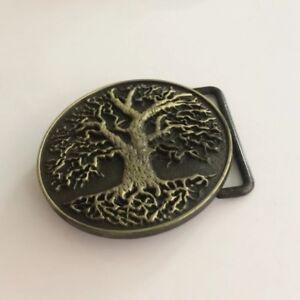 Mens Womens Bronze Family Tree Round Cowboy Biker Belt Buckle