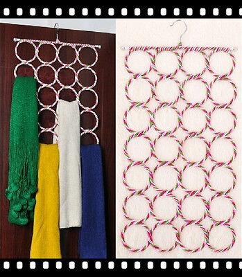 Hanger Design 28 Ring Slots Shawl Scarf Tie Closet Organizer Holder Hook DF490