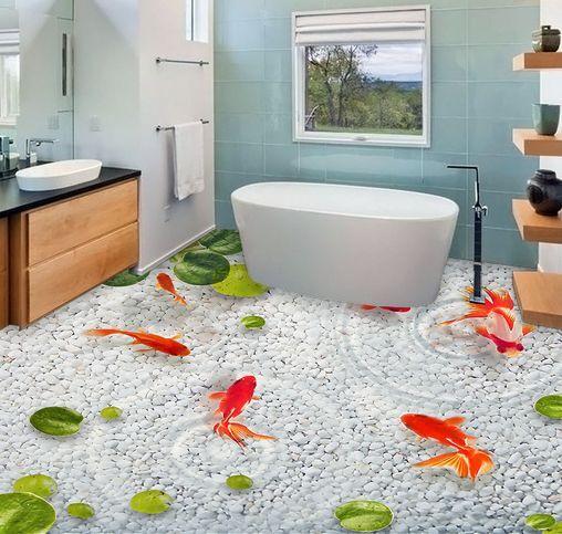 3D piso de peces de Colors agua clara impresión de parojo de papel pintado Mural Calcomanía 5D AJ Wallpaper