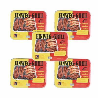 5 Stück Einweg Grill Campinggrill BBQ Picknick Wandern Grillen