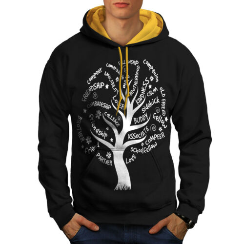 Friend Black Hood Contrast Life Men gold Tree Nature New Hoodie dC0aWTwqxw