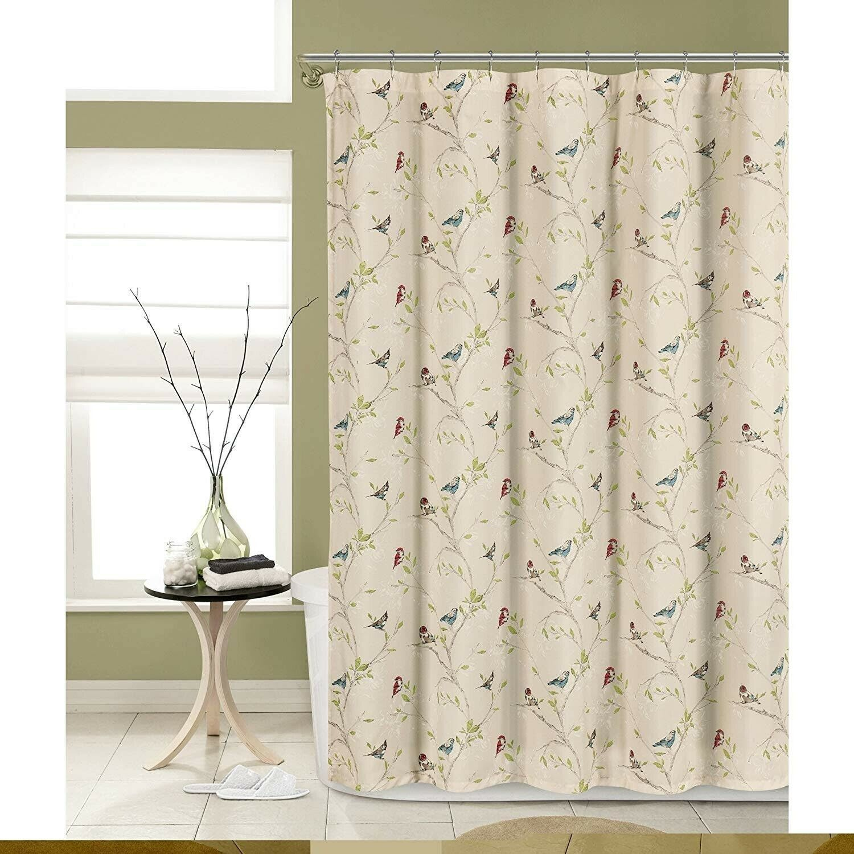 Songbird Fabric Shower Curtain 72 X 72 Beige Birds And Foliage Elegant Design