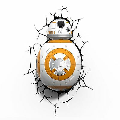 STAR WARS BB-8 3D LED WALL LIGHT NIGHT LAMP WITH CRACK STICKERS NEW